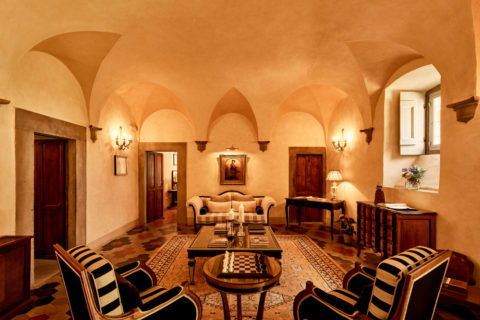 View Hall of Villa di Piazzano SLH Luxury Hotel Cortona tuscany