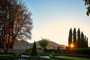 Sunrise colours Garden view Villa di Piazzano SLH Luxury Hotel Cortona tuscany