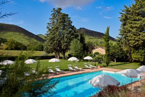 View of Pool Villa di Piazzano SLH Luxury Hotel Cortona tuscany