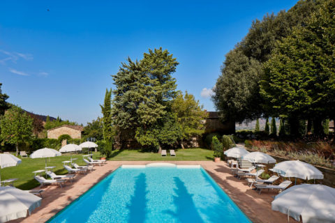 View of Pool and sightseeing Villa di Piazzano SLH Luxury Hotel Cortona tuscany