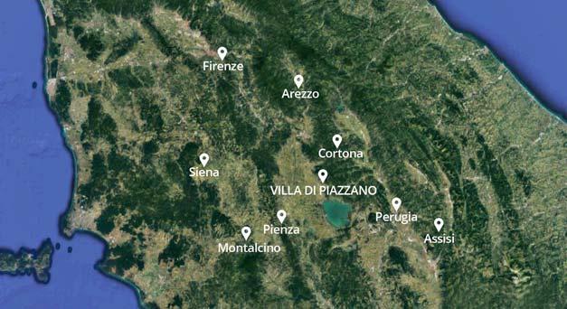 Map of region Tuscany Cortona