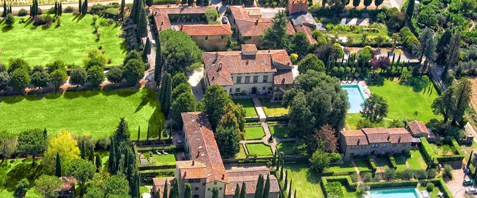 Arial view Villa di Piazzano SLH Luxury Hotel Cortona tuscany