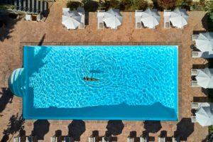 Pool arial view Villa di Piazzano SLH Luxury Hotel Cortona tuscany