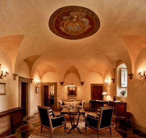 View of the Hall of Villa di Piazzano SLH Luxury Hotel Cortona tuscany
